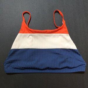RVCA Colorblocked Crop Bikini Top